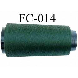 Cone de fil polyester continu n° 120 couleur vert bouteille longueur 2000 mètres bobiné en France