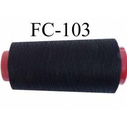 Cone de fil  polyester continu fil n°80/3 couleur noir longueur du cone 1000 mètres bobiné en France