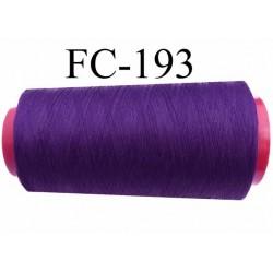 Cone de fil mousse polyester texturé fil n° 100 couleur violet foncé volubilis longueur du cone 5000 mètres bobiné en France