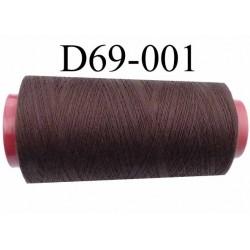 Cone ( en Destockage ) de fil  polyester  fil n°35 couleur marron longueur du cone 2000 mètres bobiné en France