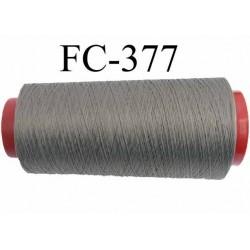 Cone de fil mousse polyamide fil n° 100 / 2 couleur gris  longueur 2000 mètres bobiné en France