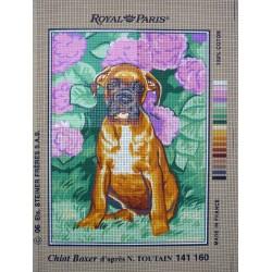 canevas 30X40 marque ROYAL PARIS thème chien chiot boxer dimension 30 centimètres par 40 centimètres 100 % coton