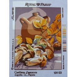 canevas 30X40 marque ROYAL PARIS thème cueillette d'automne dimension 30 centimètres par 40 centimètres 100 % coton