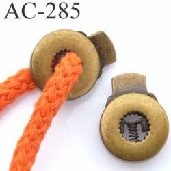 arrêt cordon stop cordon métal rond plat couleur bronze  diamètre17 mm vendu à l'unité cordon maxi 6 mm