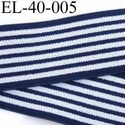 élastique plat très belle qualité superbe couleur bleu et blanc à rayures largeur 40 mm prix au mètre