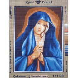 canevas 30X40 marque ROYAL PARIS thème l'adoration dimension 30 centimètres par 40 centimètres 100 % coton