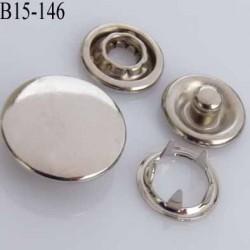 bouton pression à griffe métal chromé couleur argent chromé 5 griffes diamètre 15 mm ensemble de 4 pièces par bouton