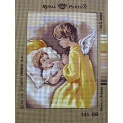 canevas 30X40 marque ROYAL PARIS thème ange et garçon dimension 30 centimètres par 40 centimètres 100 % coton
