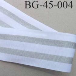 Galon ganse ruban biais gros grain souple  largeur 45 mm couleur blanc et argent brillant prix au mètre
