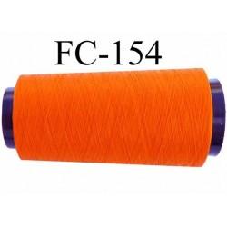 Cone  bobine de fil mousse texturé polyester fil n°120 couleur orange lumineux longueur 2000 mètres bobiné en France