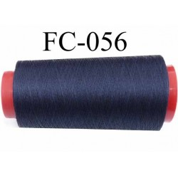 Cone de fil  polyester continu fil n°120 couleur bleu marine longueur du cone 1000 mètres bobiné en France