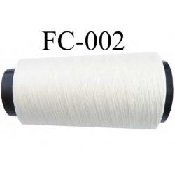 Cone de fil mousse polyester n° 110 polyester couleur blanc  longueur 1000  mètres bobiné en France