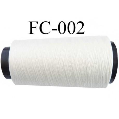 Cone de fil mousse polyester n° 110 polyester couleur blanc  longueur 2000  mètres bobiné en France