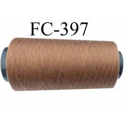 cone de fil polyester fil n°80 couleur marron clair longueur du cone 5000 mètres bobiné en France