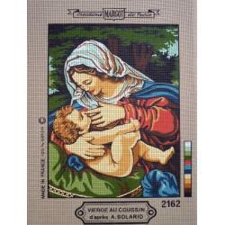 canevas 30X40 marque MARGOT CREATION DE PARIS thème vierge au coussin dimennsion 30 centimètres par 40 centimètres 100 % coton