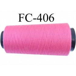 Cone ( Economique ) de fil  polyester  fil n°120 couleur rose fluo longueur 1000 mètres bobiné en France