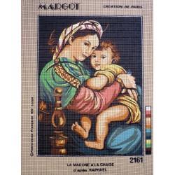 canevas 30X40 marque MARGOT CREATION DE PARIS thème la madone a la chaise dimennsion 30 centimètres X 40 centimètres 100 % coton