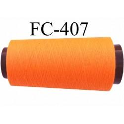 Cone de fil  polyester  fil n°120 couleur orange fluo longueur 2000 mètres bobiné en France