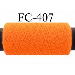 Bobine de fil  polyester  fil n°120 couleur orange fluo longueur 200 mètres bobiné en France