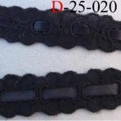 dentelle galon broderie anglaise 100 % coton avec lien satin au centre couleur noir 25 mm prix au mètre
