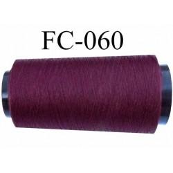 Cone Bobine de fil mousse polyester fil n° 120 couleur prune bordeau longueur du cone 2000 mètres bobiné en France