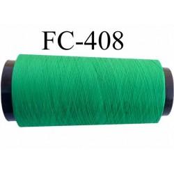 Cone de fil mousse polyester texturé fil n° 120 couleur vert cone de 2000 mètres bobiné en France