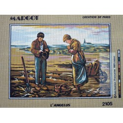 canevas 30X40 marque MARGOT CREATION DE PARIS thème l'angélus  dimension 30 centimètres par 40 centimètres 100 % coton