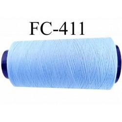 CONE de fil mousse Polyester texturé fil n° 120 couleur bleu ciel longueur de 2000 mètres bobiné en France