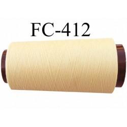 CONE de fil mousse Polyester texturé fil n° 120 couleur jaune clair longueur de 2000 mètres bobiné en France