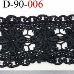 galon dentelle noir  synthétique motif fleur largeur 90 mm couleur noir souple  prix au mètre