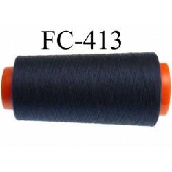 Cône de fil polyester fil n°100 couleur bleu marine longueur du cone 1000 mètres bobiné en France