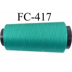 Cone de fil très résistant n° 35 polyester continu vert émeraude brillant  très solide longueur 2000 mètres bobiné en France