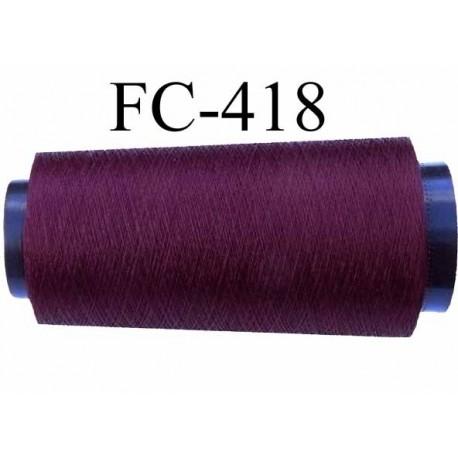 Cone de fil très résistant n° 35 polyester continu bordeau brillant superbe très solide longueur 1000 mètres bobiné en France