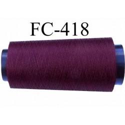 Cone de fil très résistant n° 35 polyester continu bordeau brillant superbe très solide longueur 2000 mètres bobiné en France