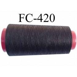 Cone de fil très résistant n° 35 polyester continu brun anthracite brillant superbe  longueur 1000 mètres bobiné en France