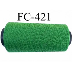 Cone de fil  polyamide continu fil n° 60 très très solide couleur vert  longueur du cone 1000 mètres bobiné en France