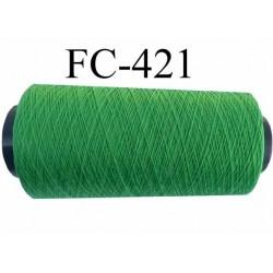 Cone de fil  polyamide continu fil n° 60 très très solide couleur vert  longueur du cone 2000 mètres bobiné en France