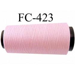 Cone de fil mousse texturé polyester fil n°110 couleur rose clair longueur du cone 2000 mètres bobiné en France