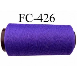 Cone de fil mousse texturé polyester fil n°160 couleur violet longueur du cone 2000 mètres bobiné en France