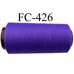 Cone de fil mousse texturé polyester fil n°160 couleur violet longueur du cone 5000 mètres bobiné en France