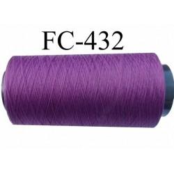 CONE de fil mousse polyamide fil n° 120 couleur prune violet longueur de 5000 mètres bobiné en France