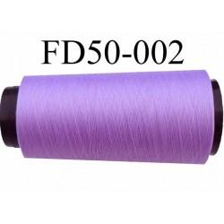 Déstockage Cone de fil polyester texturé fil n° 167 couleur  violine lilas  longueur 2000 mètres bobiné en France
