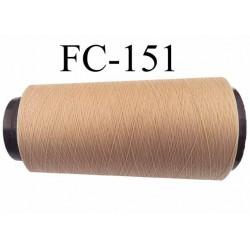 Cone de fil mousse polyamide fil n° 120 couleur beige chair peau  longueur du cone 2000 mètres bobiné en France