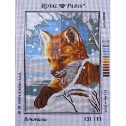 canevas 30X40 marque ROYAL PARIS thème renardeau dimension 30 centimètres par 40 centimètres 100 % coton