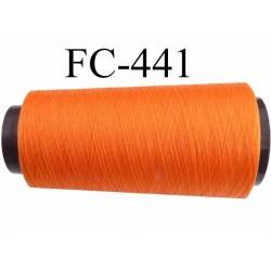 Cone de fil mousse texturé polyester fil n°110 couleur orange lumineux longueur du cone 5000 mètres bobiné en France