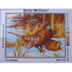 canevas 30X40 marque ROYAL PARIS thème les faisans dimension 30 centimètres par 40 centimètres 100 % coton