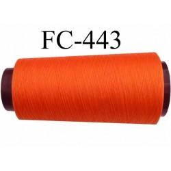 Cone de fil polyester fil n°120 couleur orange foncé longueur du cone 5000 mètres bobiné en France