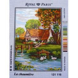canevas 30X40 marque ROYAL PARIS thème la chaumière dimension 30 centimètres par 40 centimètres 100 % coton