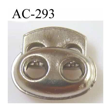 arrêt cordon  stop cordon en pvc ovale couleur argenté chromé largeur 18 mm hauteur 16 mm épaisseur 6 mm idéal