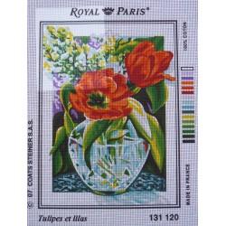 canevas 30X40 marque ROYAL PARIS thème tulipes et lilas dimension 30 centimètres par 40 centimètres 100 % coton